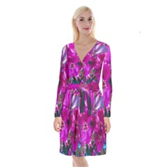 Pretty In Fuchsia Long Sleeve Velvet Front Wrap Dress