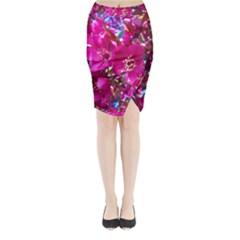 Pretty In Fuchsia 2 Midi Wrap Pencil Skirt