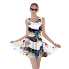 Colorful Love Birds Illustration With Splashes Of Paint Skater Dress