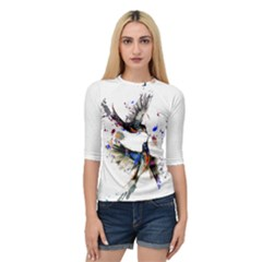 Colorful Love Birds Illustration With Splashes Of Paint Quarter Sleeve Tee