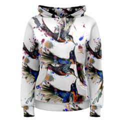Colorful Love Birds Illustration With Splashes Of Paint Women s Pullover Hoodie