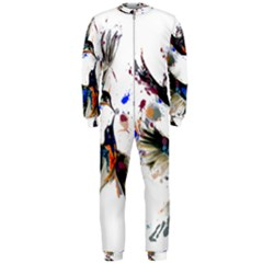 Colorful Love Birds Illustration With Splashes Of Paint OnePiece Jumpsuit (Men)