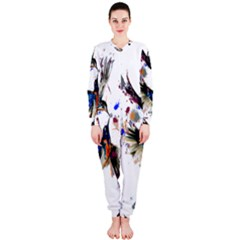 Colorful Love Birds Illustration With Splashes Of Paint OnePiece Jumpsuit (Ladies)