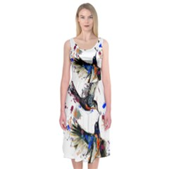 Colorful Love Birds Illustration With Splashes Of Paint Midi Sleeveless Dress