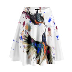 Colorful Love Birds Illustration With Splashes Of Paint High Waist Skirt