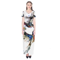 Colorful Love Birds Illustration With Splashes Of Paint Short Sleeve Maxi Dress
