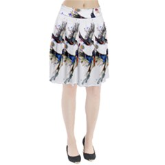 Colorful Love Birds Illustration With Splashes Of Paint Pleated Skirt