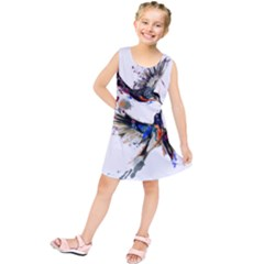 Colorful Love Birds Illustration With Splashes Of Paint Kids  Tunic Dress