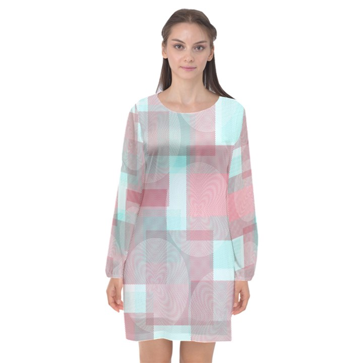 ThinkSpring Long Sleeve Chiffon Shift Dress