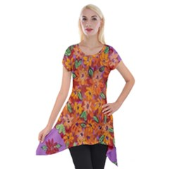 Floral Sphere Short Sleeve Side Drop Tunic
