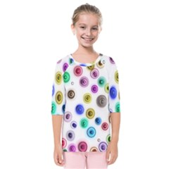 Colorful Concentric Circles          Kids  Quarter Sleeve Raglan Tee