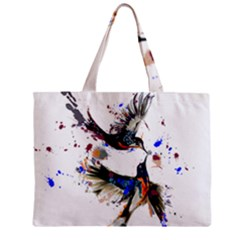 Colorful Love Birds Illustration With Splashes Of Paint Mini Tote Bag