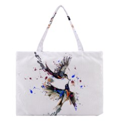 Colorful Love Birds Illustration With Splashes Of Paint Medium Tote Bag