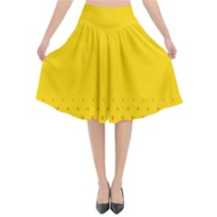 Yellow Star Light Space Flared Midi Skirt