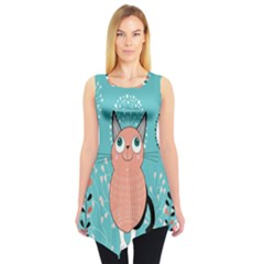 Cat Face Mask Smile Cute Leaf Flower Floral Sleeveless Tunic
