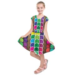 Circle Round Yellow Green Blue Purple Brown Orange Pink Kids  Short Sleeve Dress