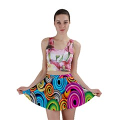 Circle Round Hole Rainbow Mini Skirt