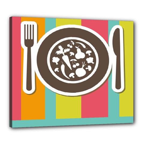 Dinerplate Tablemaner Food Fok Knife Canvas 24  X 20