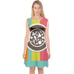 Dinerplate Tablemaner Food Fok Knife Capsleeve Midi Dress