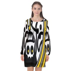 Easter Monster Sinister Happy Magic Rock Mask Face Polka Yellow Long Sleeve Chiffon Shift Dress