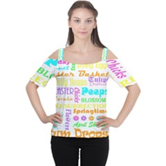 Easter Subway Blossoms Color Rainbow Chocolate Women s Cutout Shoulder Tee