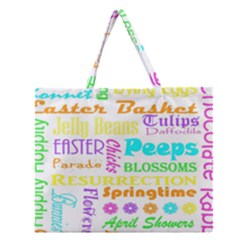 Easter Subway Blossoms Color Rainbow Chocolate Zipper Large Tote Bag