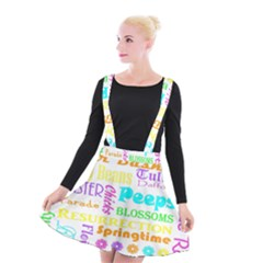 Easter Subway Blossoms Color Rainbow Chocolate Suspender Skater Skirt