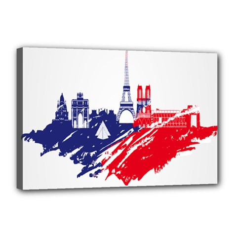 Eiffel Tower Monument Statue Of Liberty France England Red Blue Canvas 18  x 12