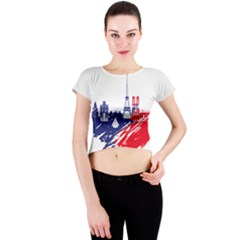 Eiffel Tower Monument Statue Of Liberty France England Red Blue Crew Neck Crop Top