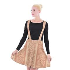 Flower Floral Leaf Frame Star Brown Suspender Skater Skirt