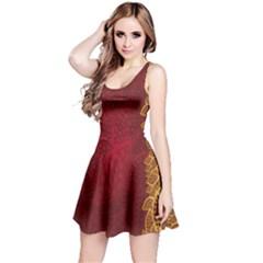 Floral Flower Golden Red Leaf Reversible Sleeveless Dress