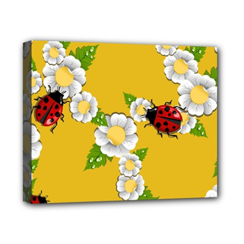 Flower Floral Sunflower Butterfly Red Yellow White Green Leaf Canvas 10  x 8