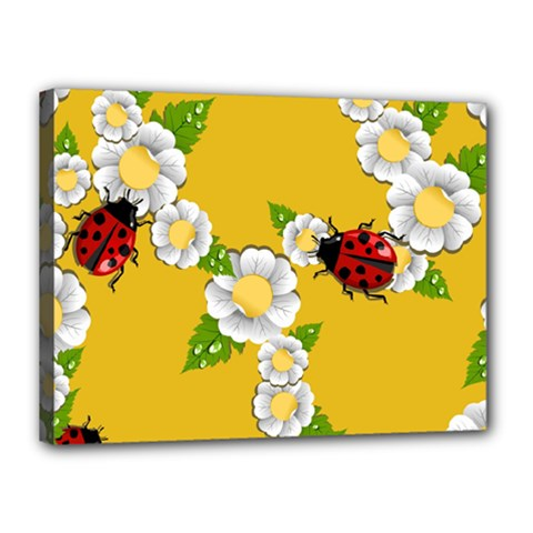 Flower Floral Sunflower Butterfly Red Yellow White Green Leaf Canvas 16  x 12
