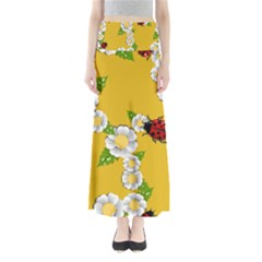 Flower Floral Sunflower Butterfly Red Yellow White Green Leaf Maxi Skirts