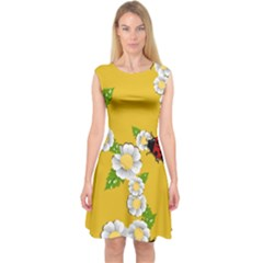 Flower Floral Sunflower Butterfly Red Yellow White Green Leaf Capsleeve Midi Dress