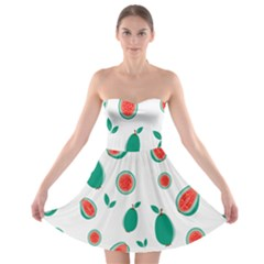Fruit Green Red Guavas Leaf Strapless Bra Top Dress