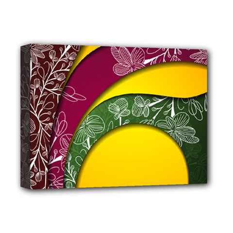 Flower Floral Leaf Star Sunflower Green Red Yellow Brown Sexxy Deluxe Canvas 16  x 12
