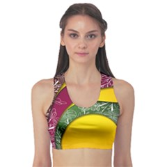 Flower Floral Leaf Star Sunflower Green Red Yellow Brown Sexxy Sports Bra