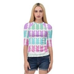 Happy Easter Rabbit Color Green Purple Blue Pink Quarter Sleeve Tee