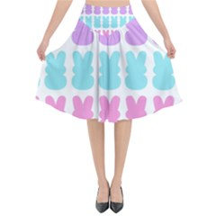 Happy Easter Rabbit Color Green Purple Blue Pink Flared Midi Skirt