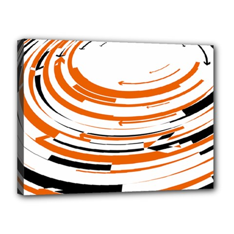 Hole Black Orange Arrow Canvas 16  x 12