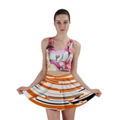 Hole Black Orange Arrow Mini Skirt