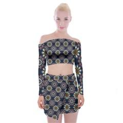 Floral Flower Star Blue Off Shoulder Top With Skirt Set