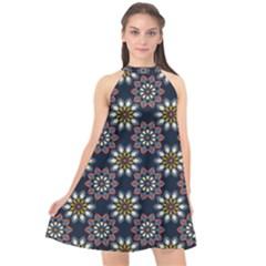 Floral Flower Star Blue Halter Neckline Chiffon Dress
