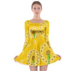 Leaf Flower Floral Sakura Love Heart Yellow Orange White Green Long Sleeve Skater Dress