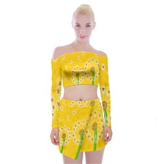 Leaf Flower Floral Sakura Love Heart Yellow Orange White Green Off Shoulder Top With Skirt Set