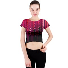 Line Vertical Plaid Light Black Red Purple Pink Sexy Crew Neck Crop Top