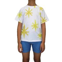 Line Painting Yellow Star Kids  Short Sleeve Swimwear