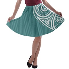 Line Wave Chevron Star Blue Love Heart Sea Beach A-line Skater Skirt
