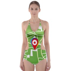 Map Street Star Location Cut-Out One Piece Swimsuit